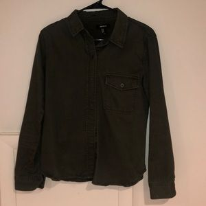 olive green button up jacket